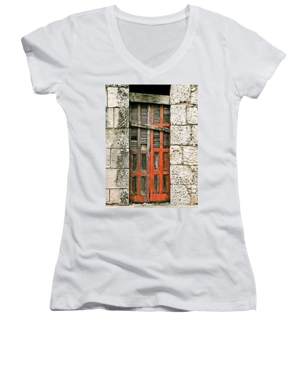 Door Women's V-Neck (Athletic Fit) featuring the photograph Red Door by Douglas Barnett