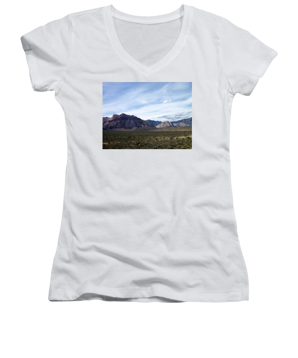 Red Rock Canyon Women's V-Neck (Athletic Fit) featuring the photograph Red Rock Canyon 4 by Anita Burgermeister