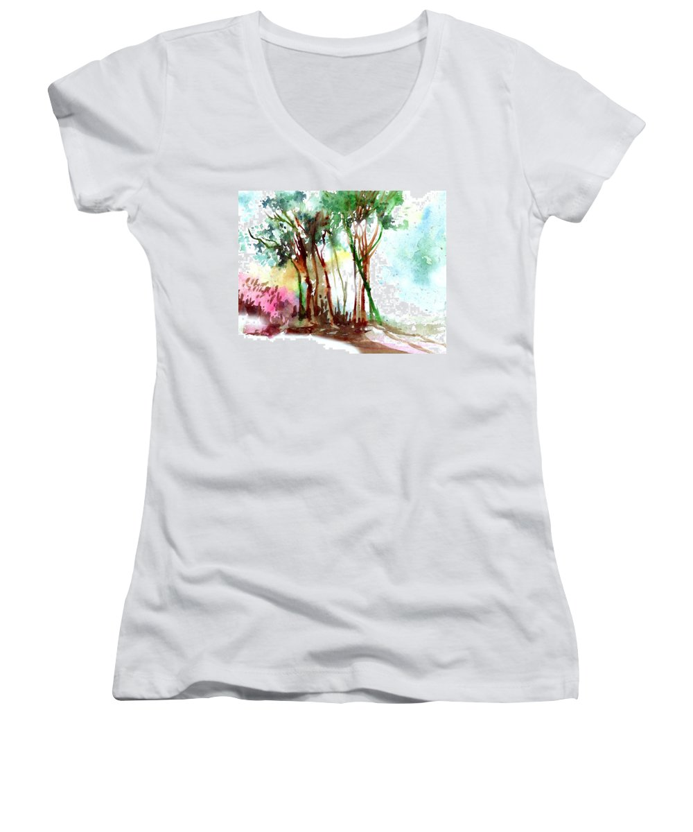 Landscape Women's V-Neck T-Shirt featuring the painting Red Trees by Anil Nene