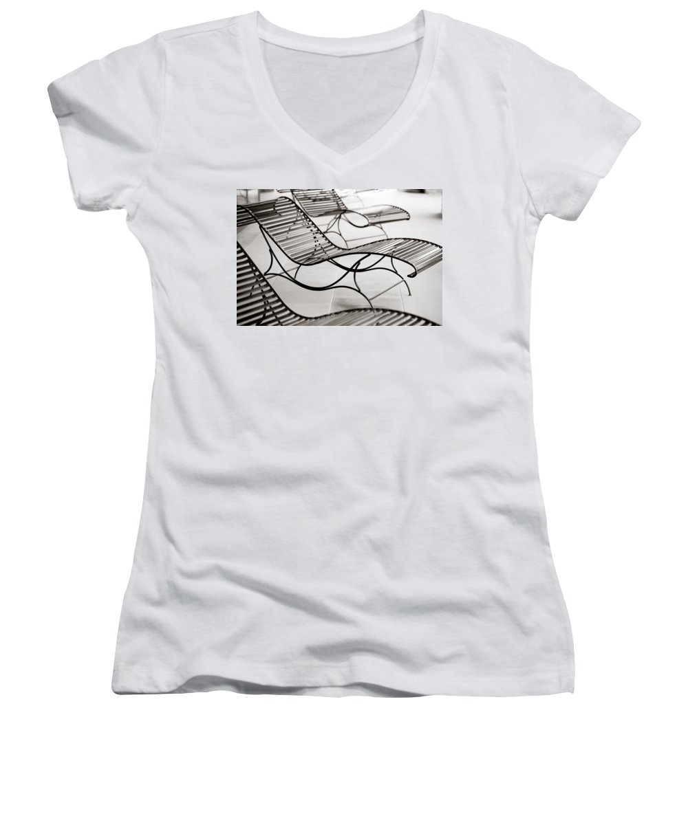 Chair Women's V-Neck T-Shirt featuring the photograph Relaxation by Marilyn Hunt