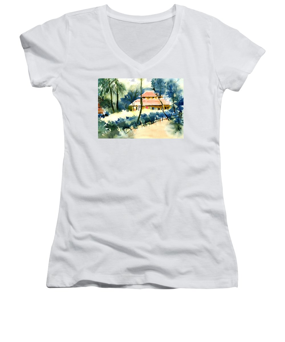 Landscape Women's V-Neck T-Shirt featuring the painting Rest House by Anil Nene