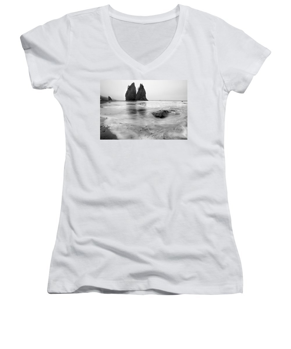 Beach Women's V-Neck (Athletic Fit) featuring the photograph Rialto Reflections by Mike Dawson