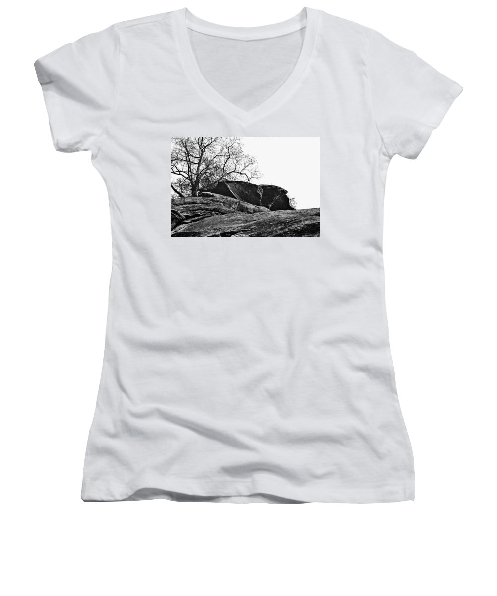 Landscape Women's V-Neck (Athletic Fit) featuring the photograph Rock Wave by Steve Karol