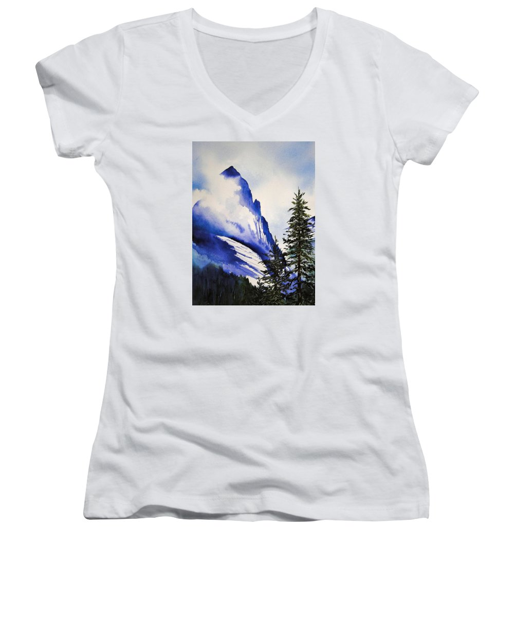 Rocky Mountains Women's V-Neck T-Shirt featuring the painting Rocky Mountain High by Karen Stark