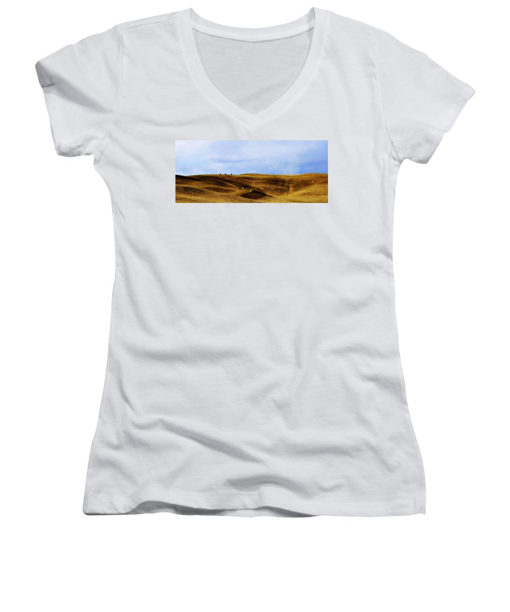 Italy Women's V-Neck (Athletic Fit) featuring the photograph Rolling Hills Of Hay by Marilyn Hunt