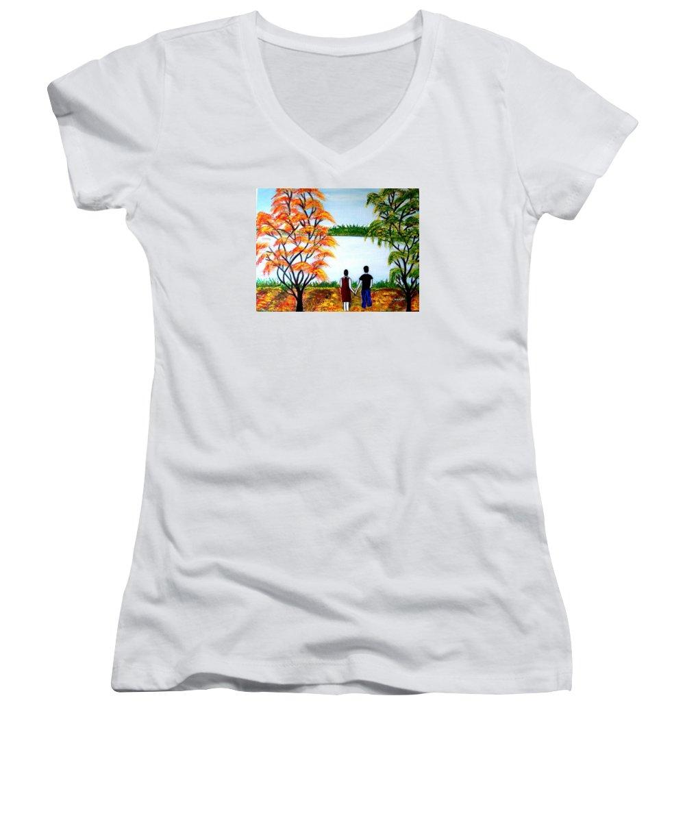 Romance Figures Autumn Orange Trees Green Pop Water Lake Love Valentine Yellow Lake Spring Bloom Women's V-Neck T-Shirt featuring the painting Romance In Autumn by Manjiri Kanvinde