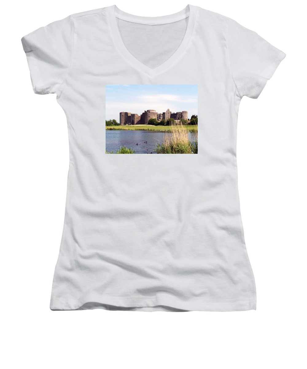 Roscommon Women's V-Neck (Athletic Fit) featuring the photograph Roscommon Castle Ireland by Teresa Mucha