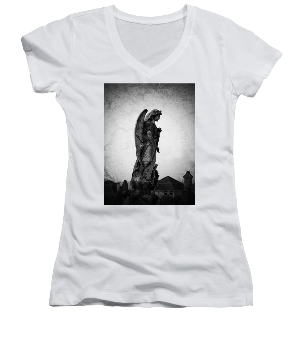 Roscommon Women's V-Neck T-Shirt featuring the photograph Roscommonn Angel No 4 by Teresa Mucha