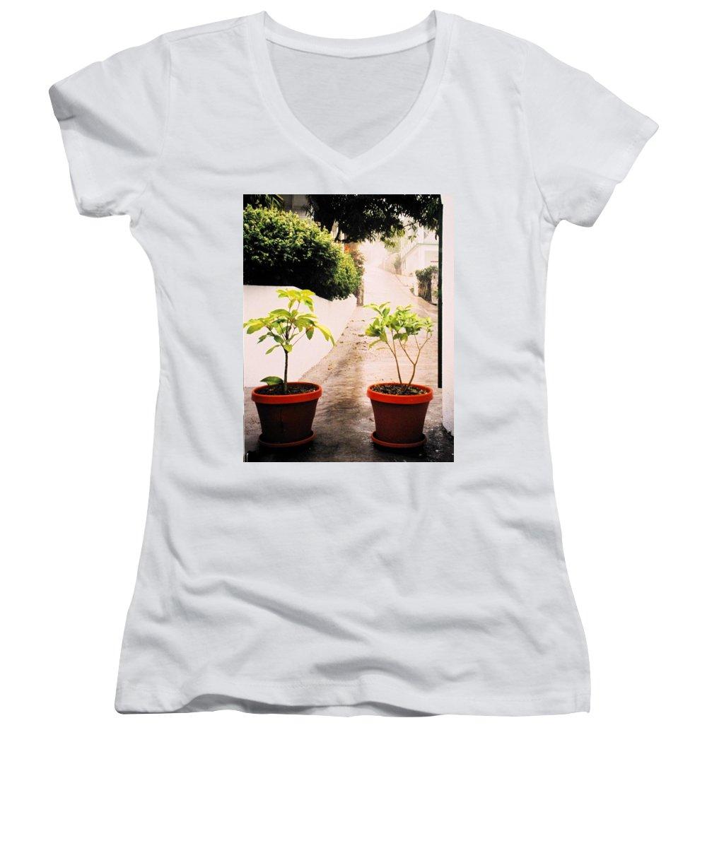 Saba Women's V-Neck T-Shirt featuring the photograph Saba by Ian MacDonald