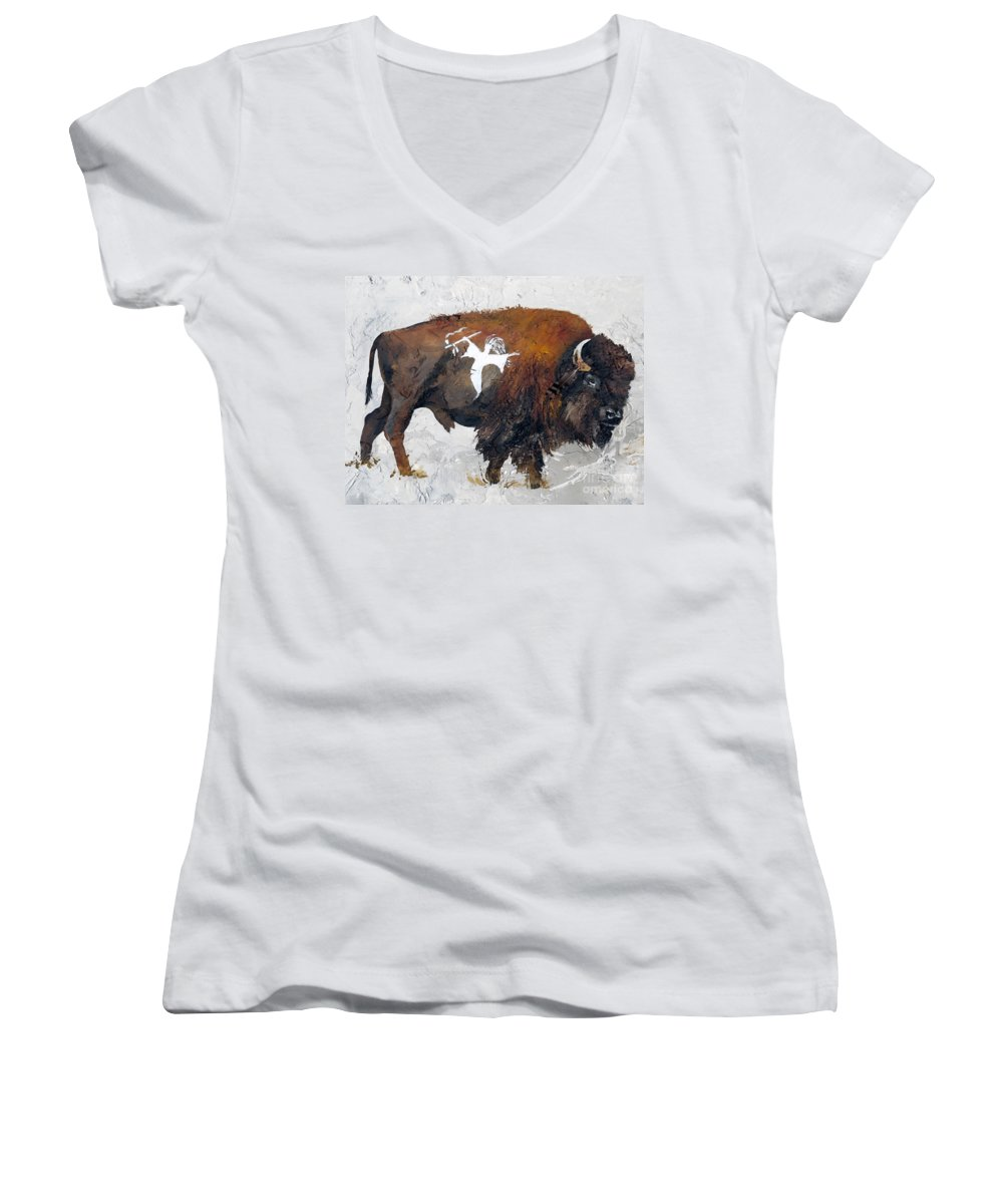 Southwest Art Women's V-Neck (Athletic Fit) featuring the painting Sacred Gift by J W Baker