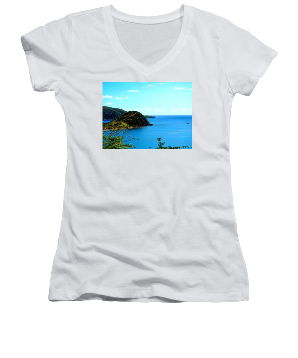 St Kitts Women's V-Neck T-Shirt featuring the photograph Safe Harbor by Ian MacDonald