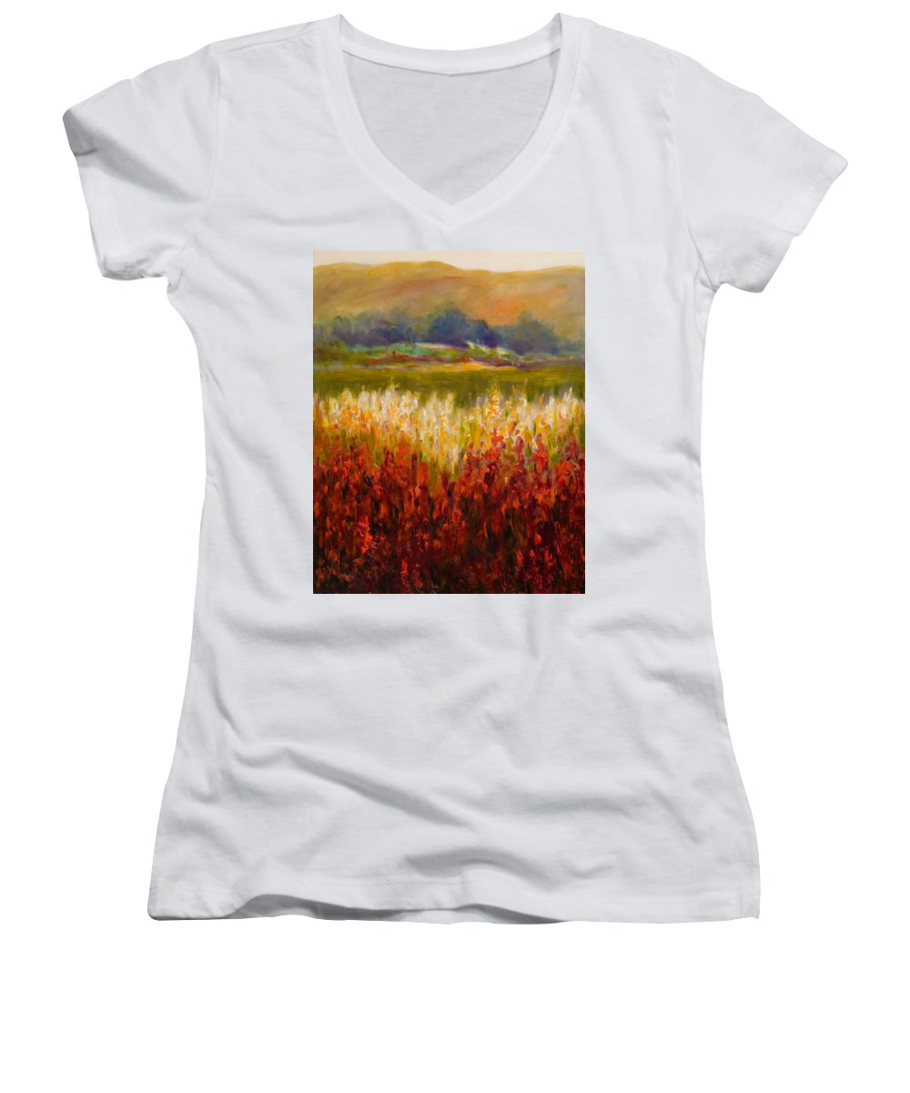 Landscape Women's V-Neck T-Shirt (Junior Cut) featuring the painting Santa Rosa Valley by Shannon Grissom