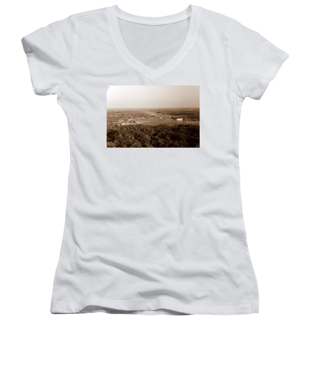 Saugatuck Women's V-Neck (Athletic Fit) featuring the photograph Saugatuck Michigan Harbor Aerial Photograph by Michelle Calkins