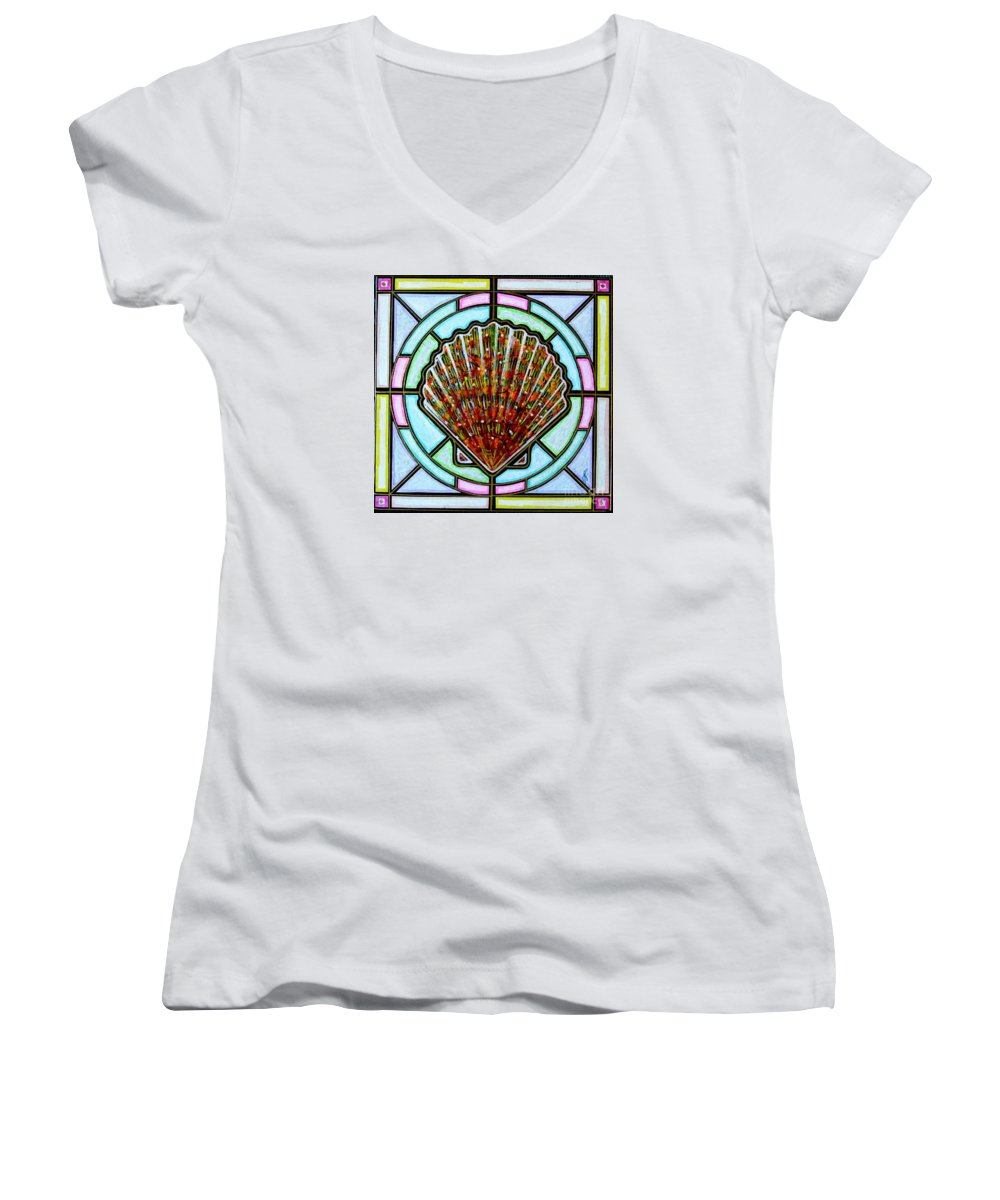 She Shells Women's V-Neck (Athletic Fit) featuring the painting Scallop Shell 1 by Jim Harris