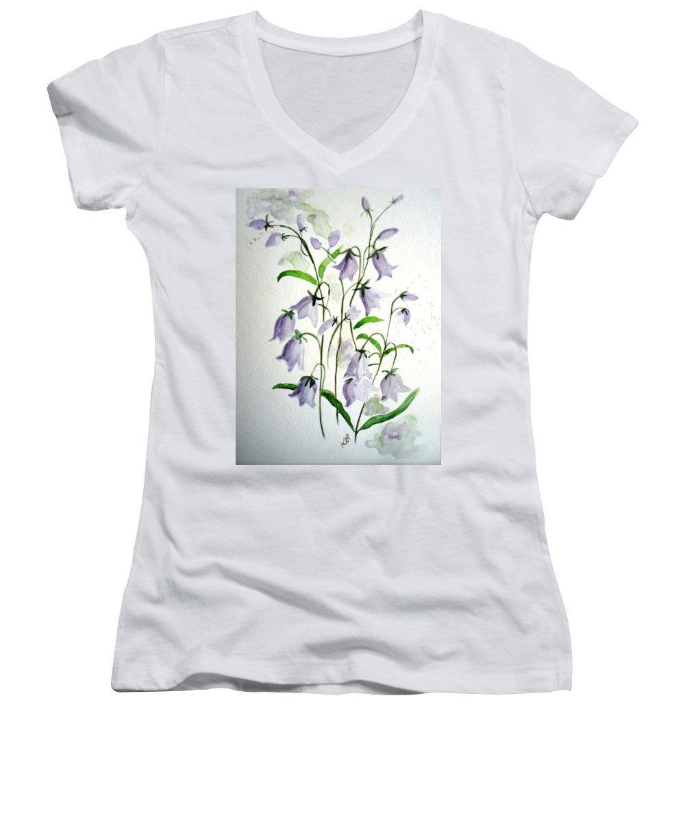 Blue Bells Hare Bells Purple Flower Flora Women's V-Neck (Athletic Fit) featuring the painting Scottish Blue Bells by Karin Dawn Kelshall- Best