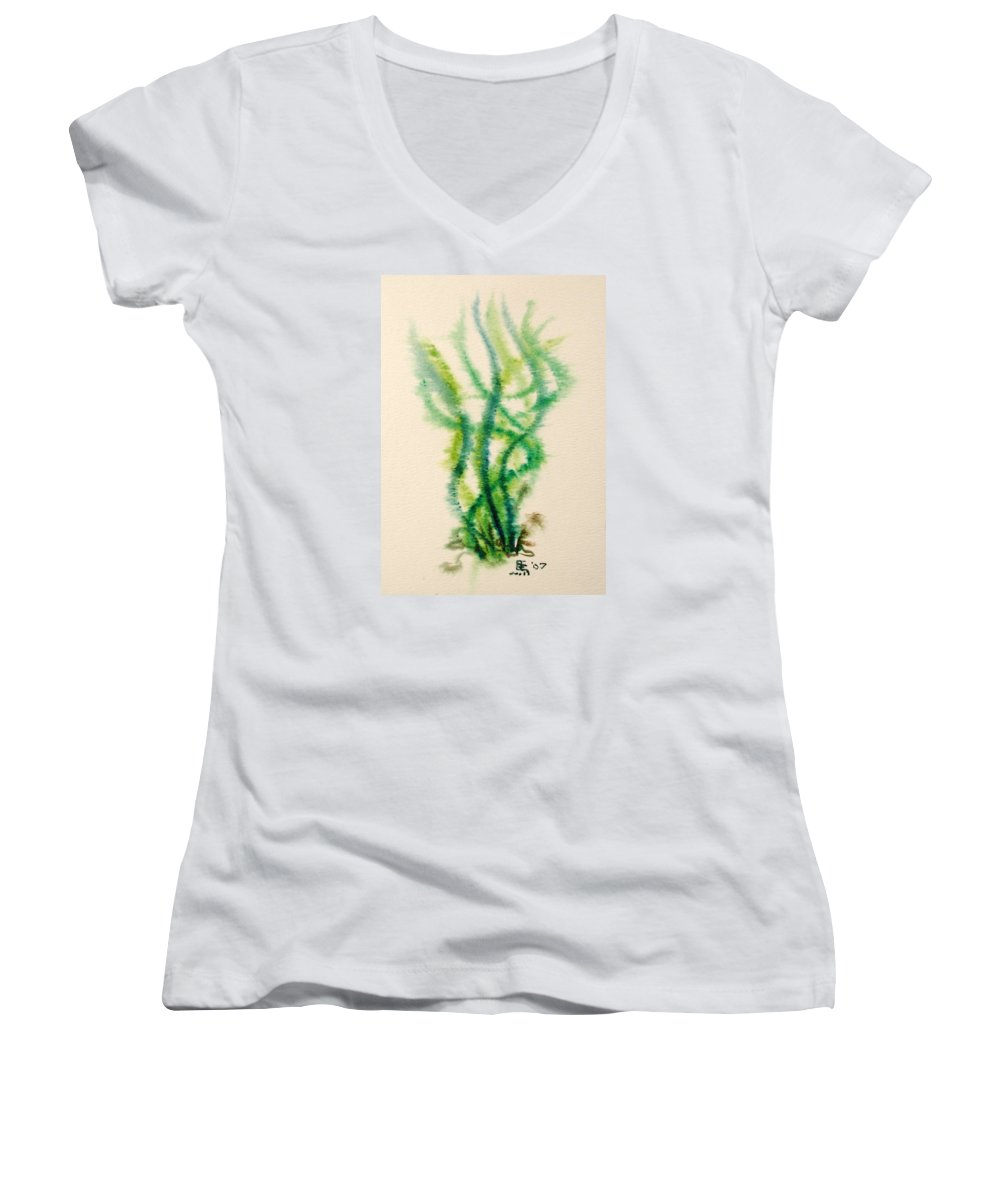 Sea Women's V-Neck T-Shirt featuring the painting Sea Bed One by Dave Martsolf