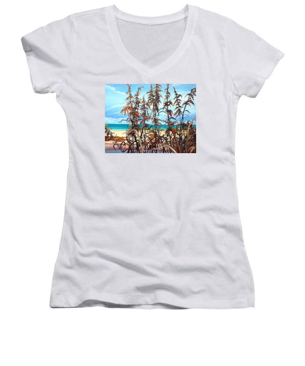 Ocean Painting Sea Oats Painting Beach Painting Seascape Painting Beach Painting Florida Painting Greeting Card Painting Women's V-Neck (Athletic Fit) featuring the painting Sea Oats by Karin Dawn Kelshall- Best