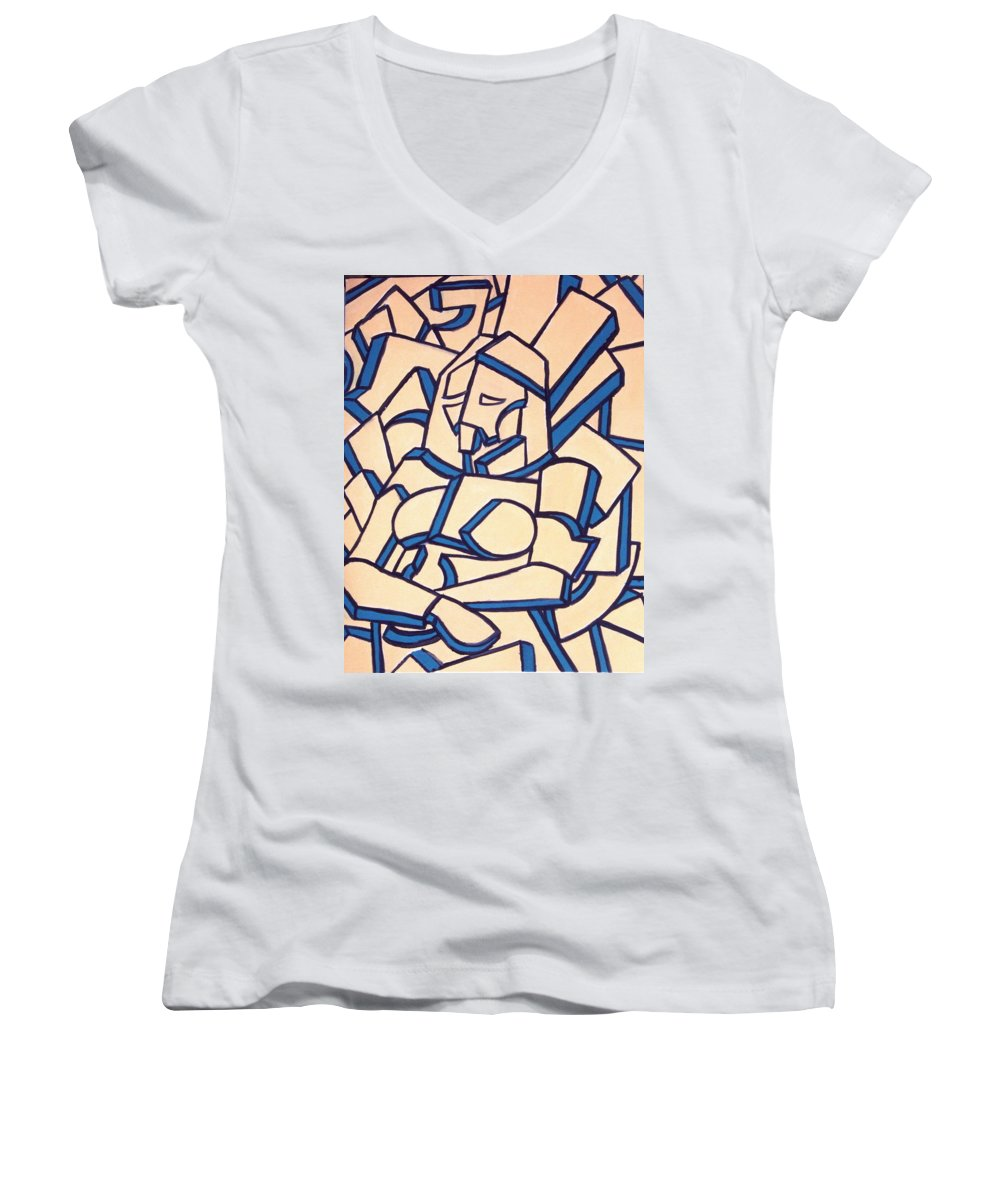 Girl Women's V-Neck T-Shirt featuring the painting Seated Women by Thomas Valentine