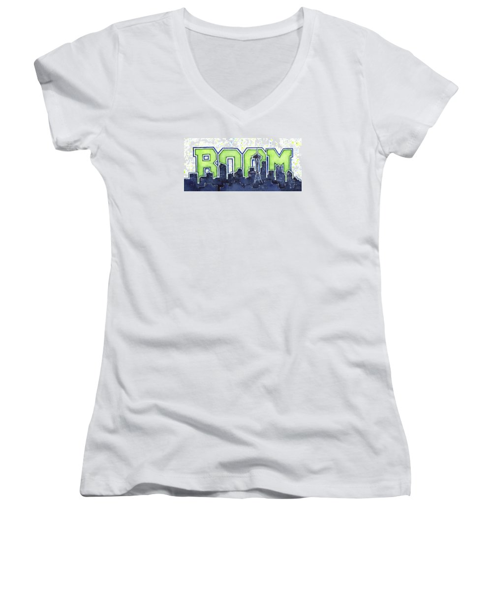 Seattle Women's V-Neck featuring the painting Seattle 12th Man Legion Of Boom Painting by Olga Shvartsur