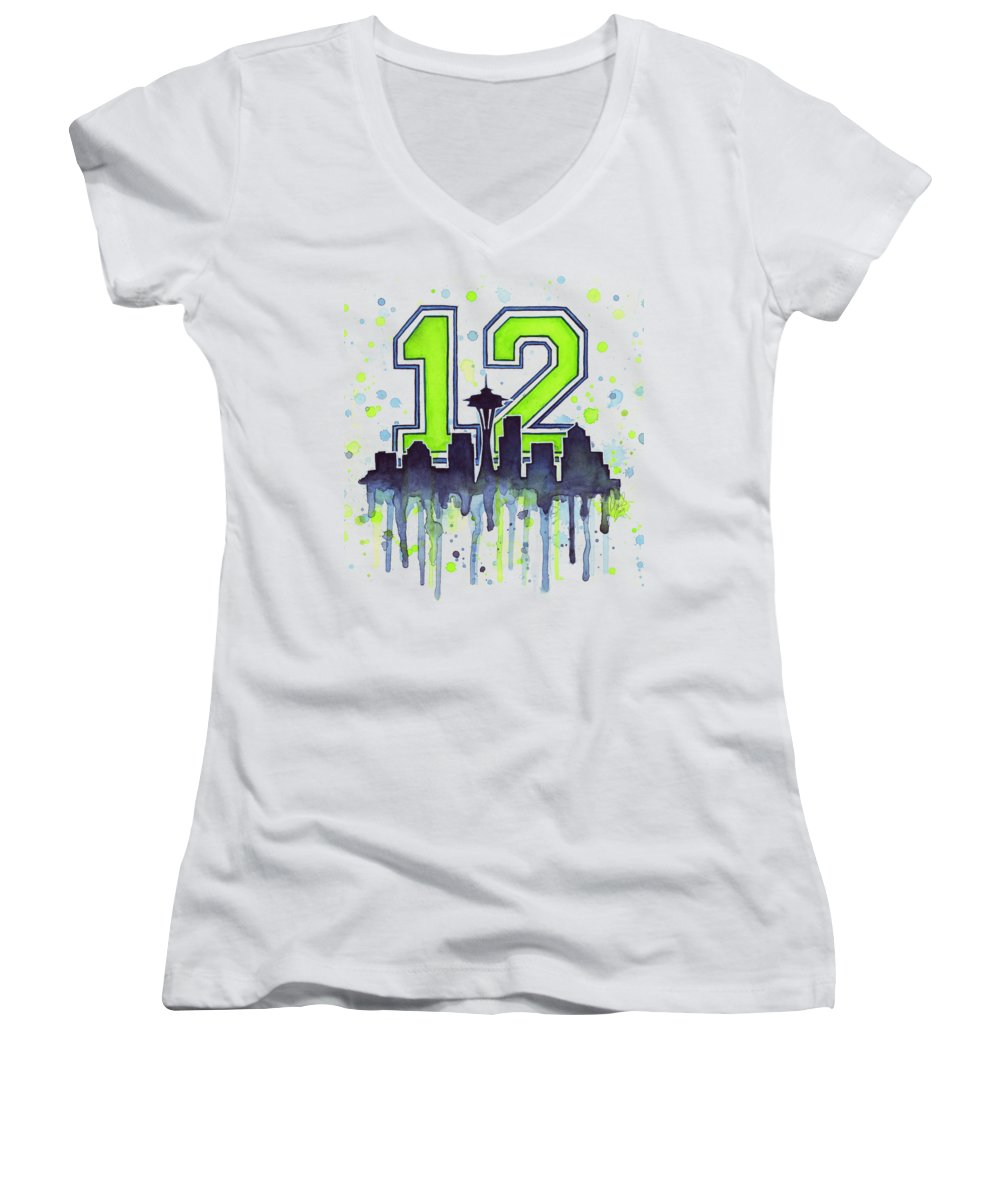 Seattle Women's V-Neck featuring the painting Seattle Seahawks 12th Man Art by Olga Shvartsur