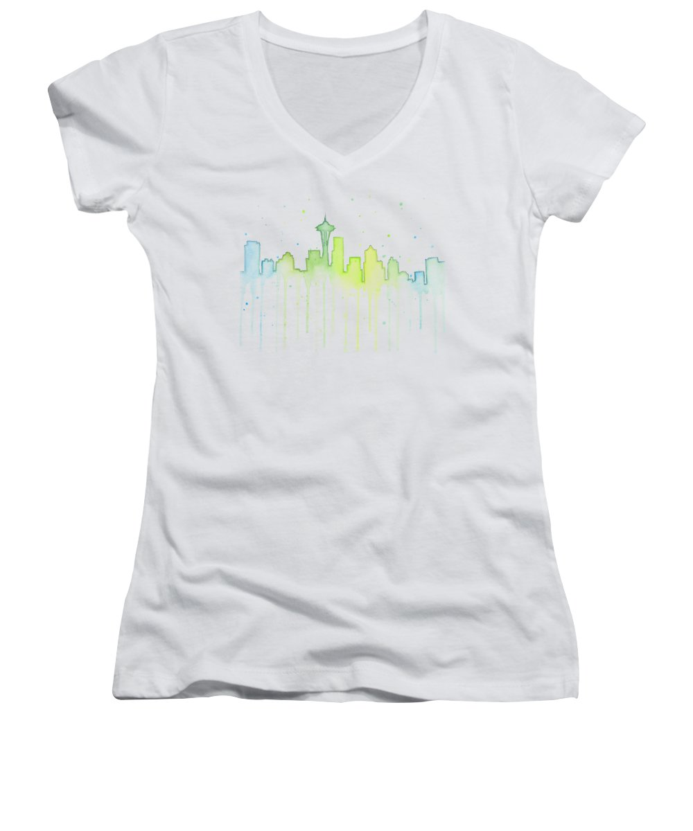 Seattle Women's V-Neck featuring the painting Seattle Skyline Watercolor by Olga Shvartsur
