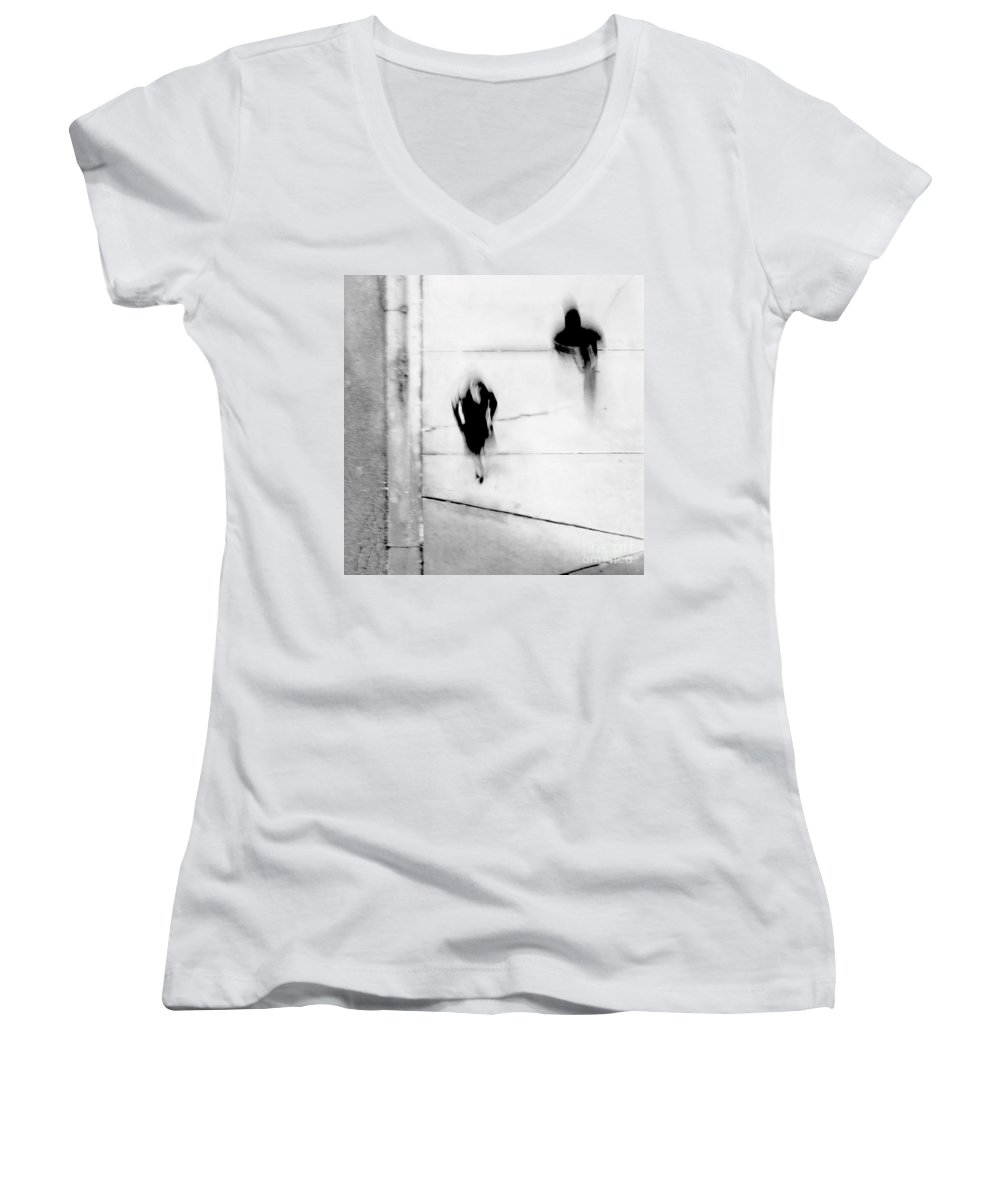Black Women's V-Neck T-Shirt featuring the photograph Self-protection - If You Look Me In The Eye Will You See Me by Dana DiPasquale