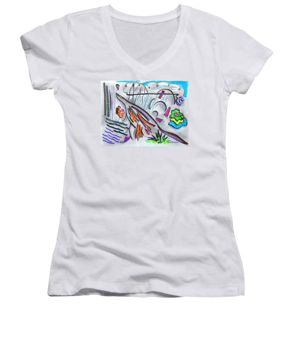 Abstract Drawing Women's V-Neck T-Shirt featuring the drawing Sensing The Precipice by J R Seymour