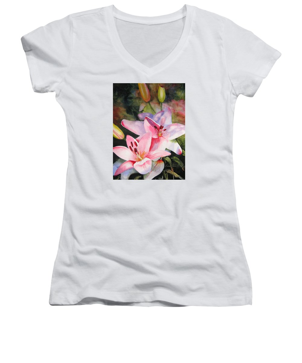 Lilies Women's V-Neck (Athletic Fit) featuring the painting Shady Ladies by Karen Stark