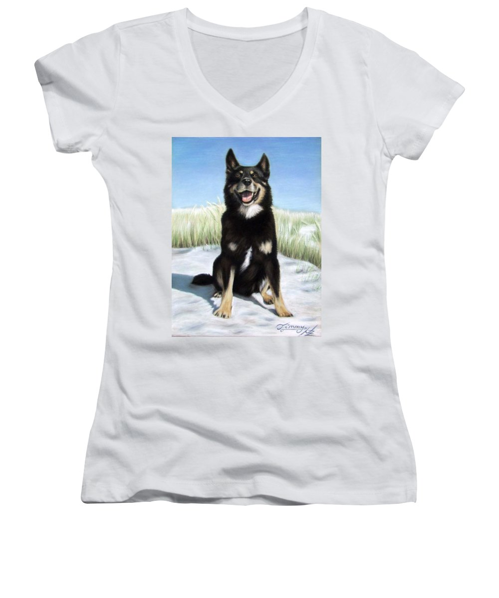 Dog Women's V-Neck T-Shirt featuring the pastel Shepherd Mix Timmy by Nicole Zeug