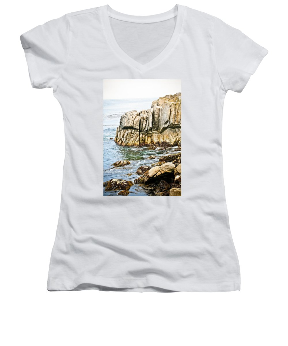 Pebble Beach Women's V-Neck (Athletic Fit) featuring the photograph Shores Of Pebble Beach by Marilyn Hunt