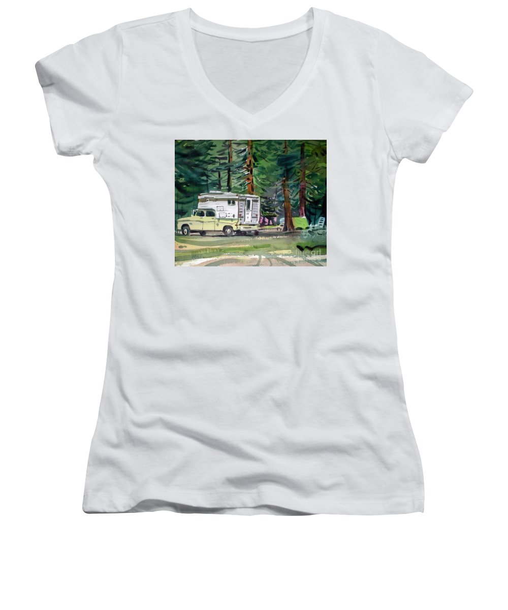 Camping Women's V-Neck (Athletic Fit) featuring the painting Sierra Campsite by Donald Maier