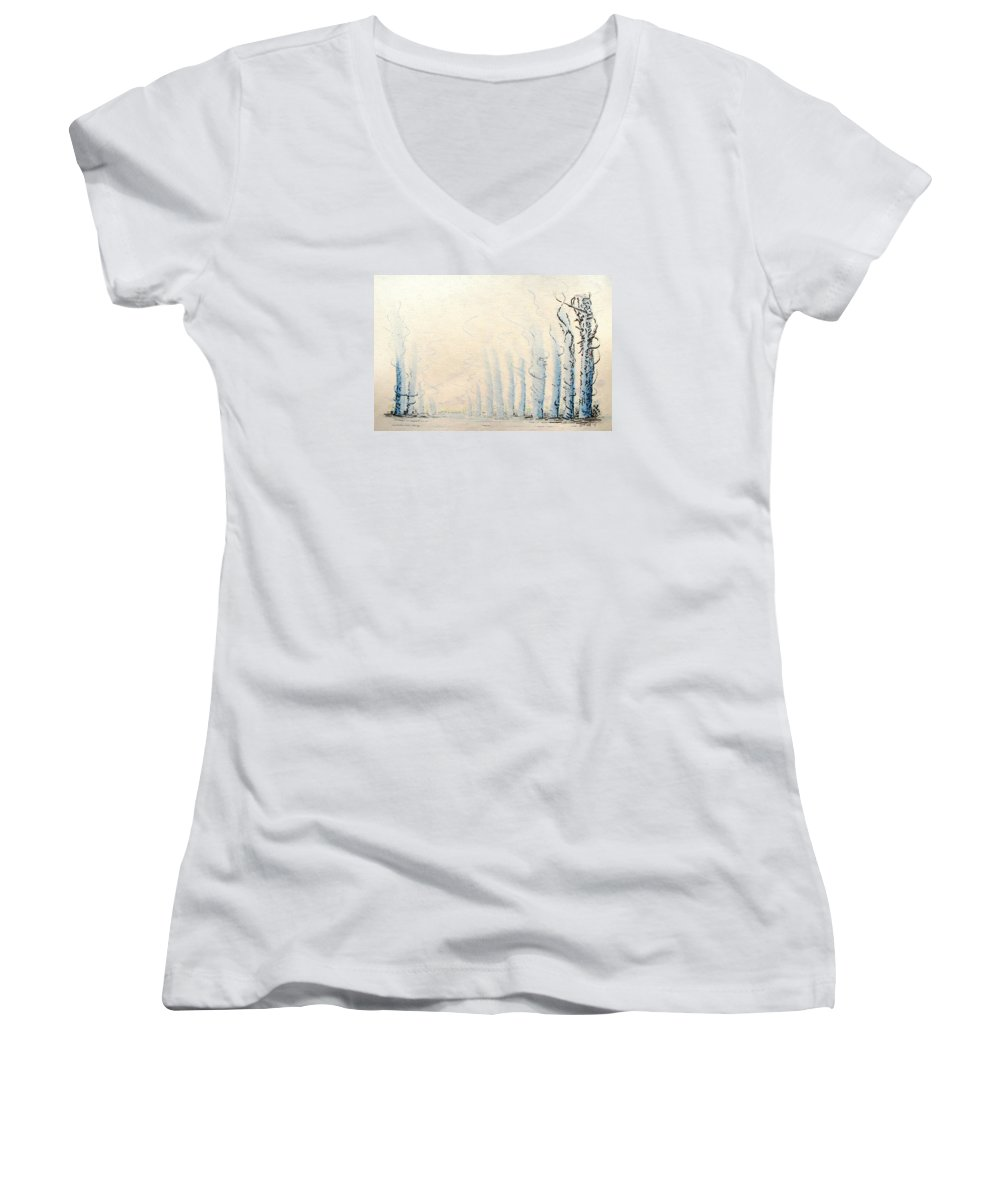 Watercolor Women's V-Neck (Athletic Fit) featuring the painting Signals by Dave Martsolf