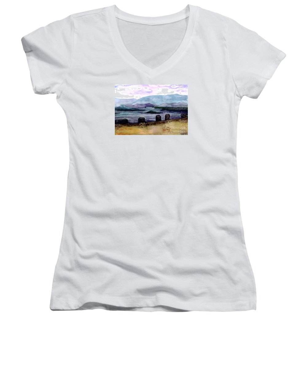 Original Painting Women's V-Neck (Athletic Fit) featuring the painting Silent Sentinels by Patricia Griffin Brett