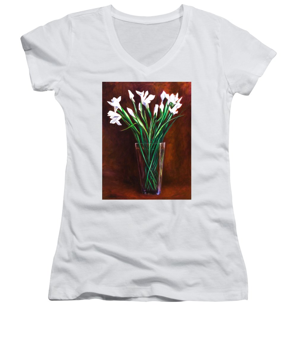Iris Women's V-Neck T-Shirt (Junior Cut) featuring the painting Simply Iris by Shannon Grissom