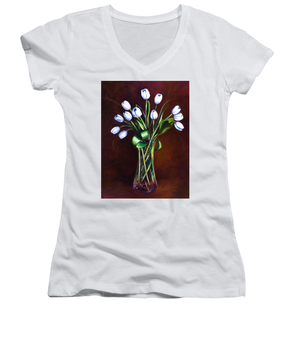Shannon Grissom Women's V-Neck T-Shirt (Junior Cut) featuring the painting Simply Tulips by Shannon Grissom