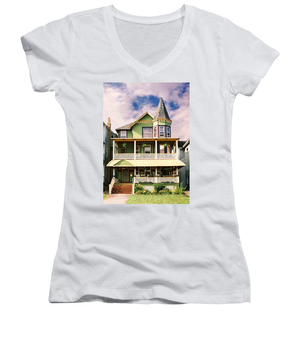 Archtiecture Women's V-Neck T-Shirt featuring the photograph Sisters Panel 1 Of Triptych by Steve Karol