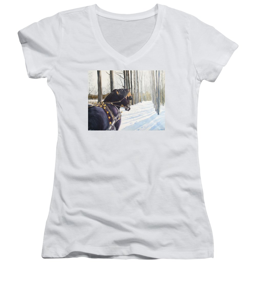 Horse Women's V-Neck (Athletic Fit) featuring the painting Sleigh Bells by Ally Benbrook