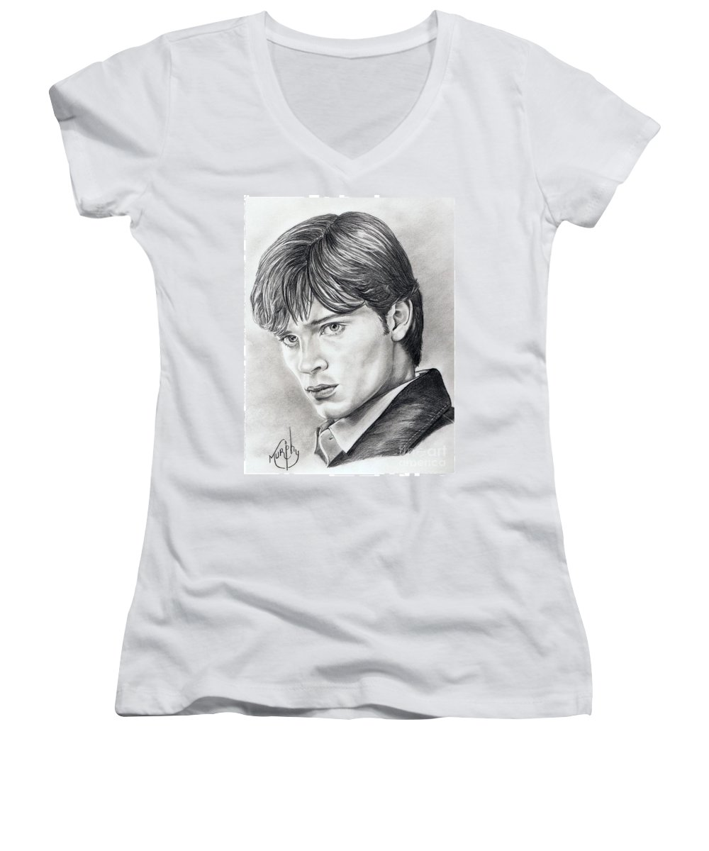 Superman Women's V-Neck (Athletic Fit) featuring the drawing Smallville Tom Welling by Murphy Elliott