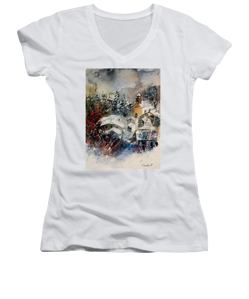 Landscape Women's V-Neck T-Shirt featuring the painting Snon In Frahan by Pol Ledent