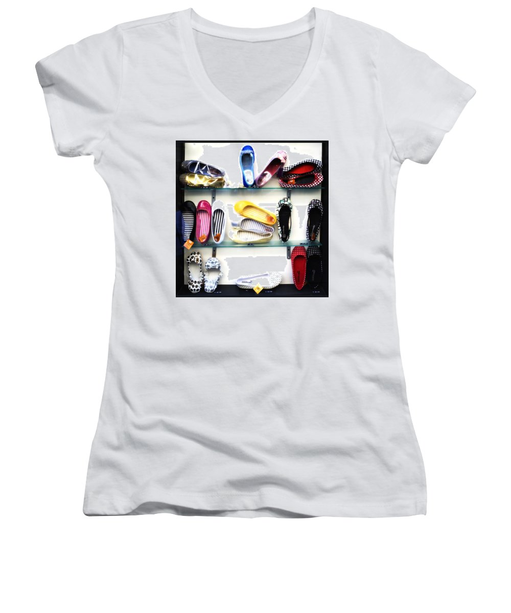 Shoes Women's V-Neck (Athletic Fit) featuring the photograph So Many Shoes... by Marilyn Hunt