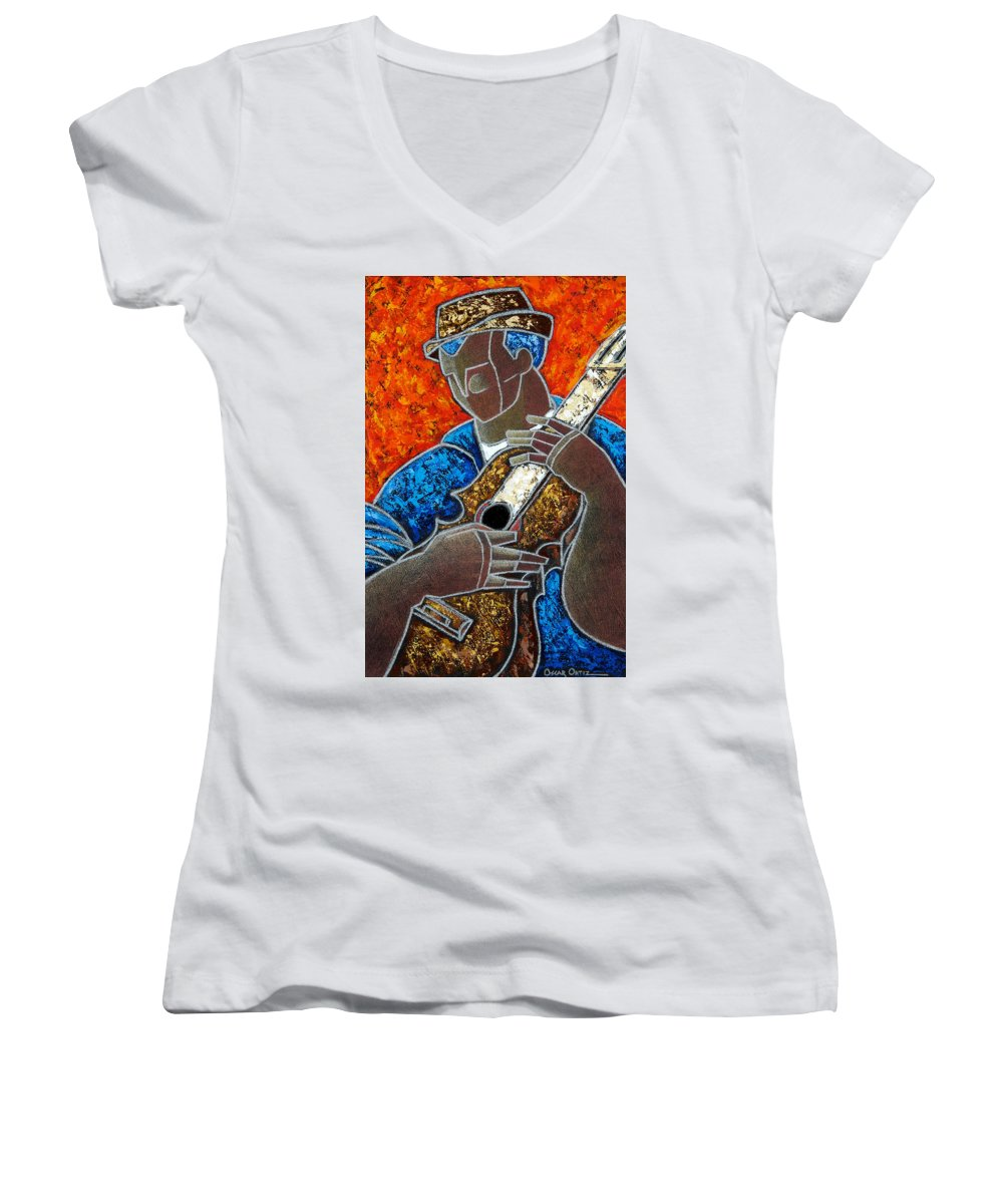 Puerto Rico Women's V-Neck (Athletic Fit) featuring the painting Solo De Cuatro by Oscar Ortiz