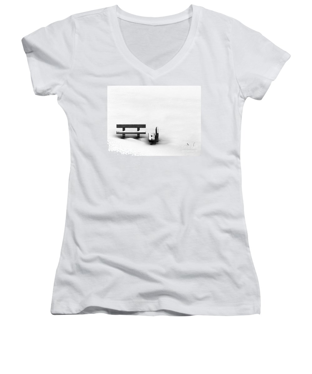 Black Women's V-Neck T-Shirt featuring the photograph Someone To Hear You When You Sigh by Dana DiPasquale