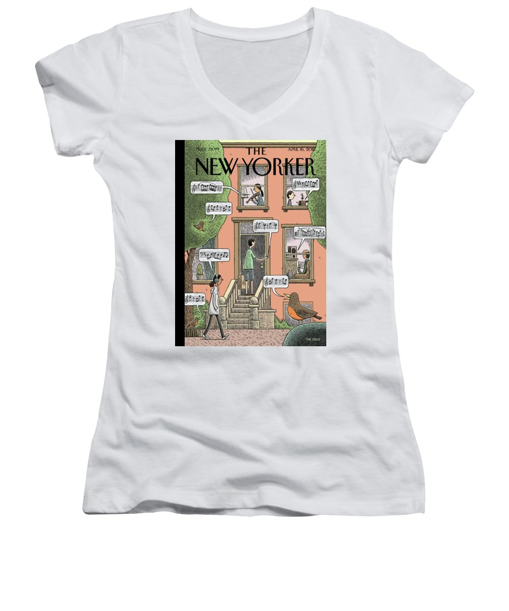 Soundtrack To Spring Women's V-Neck featuring the painting Soundtrack to Spring by Tom Gauld