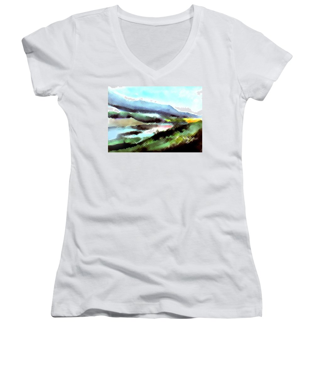 Digital Art Women's V-Neck (Athletic Fit) featuring the painting Sparkling by Anil Nene