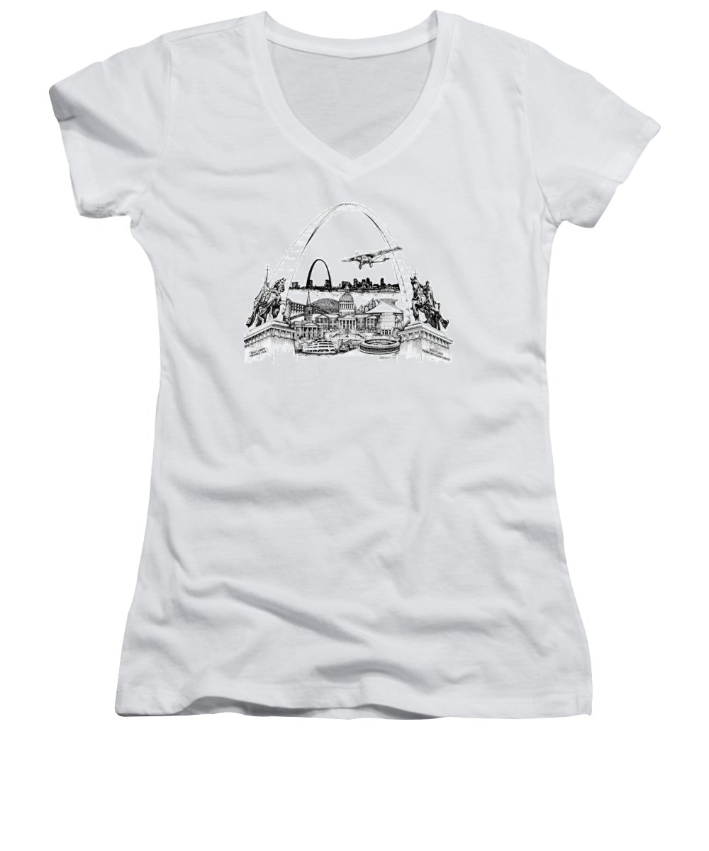 City Drawing Women's V-Neck T-Shirt featuring the drawing St. Louis Highlights Version 1 by Dennis Bivens