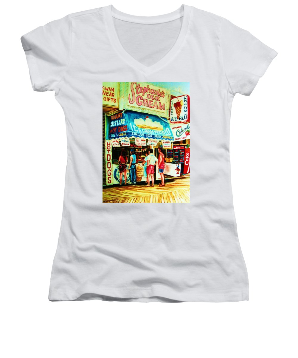 Children Women's V-Neck T-Shirt featuring the painting Stephanies Icecream Stand by Carole Spandau
