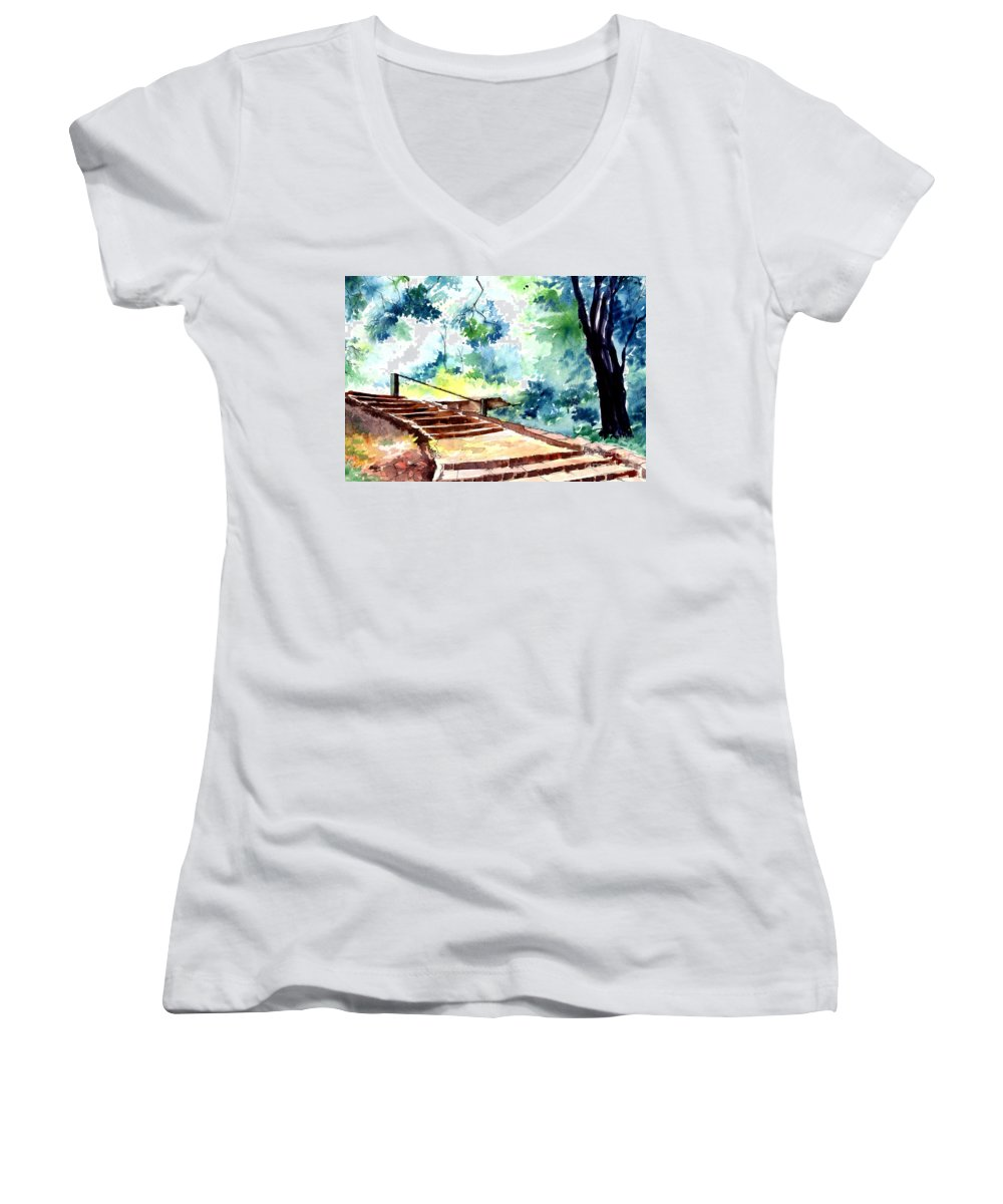 Landscape Women's V-Neck T-Shirt featuring the painting Steps To Eternity by Anil Nene