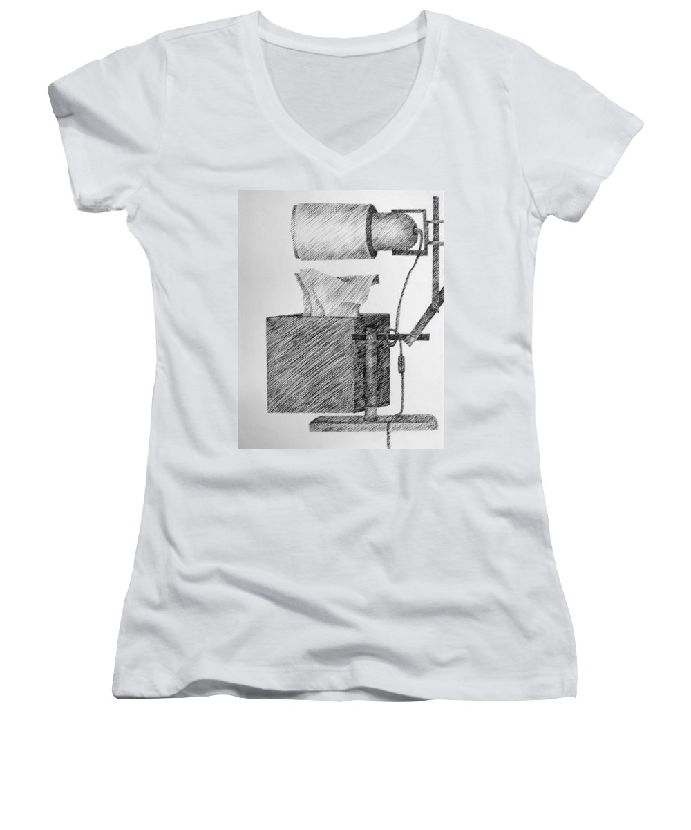 Still Life Women's V-Neck (Athletic Fit) featuring the drawing Still Life With Lamp And Tissues by Michelle Calkins