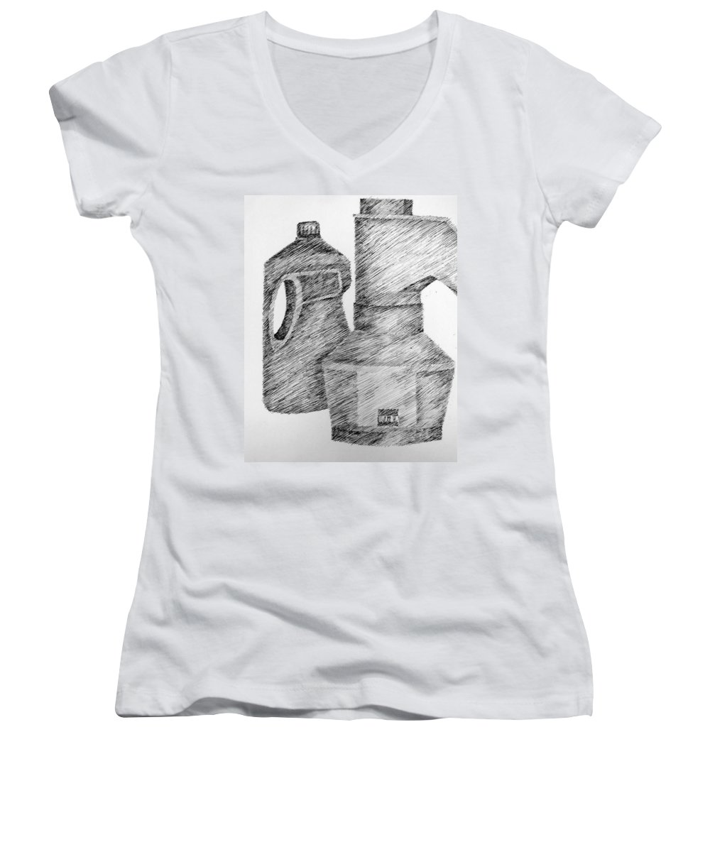Still Life Women's V-Neck T-Shirt featuring the drawing Still Life With Popcorn Maker And Laundry Soap Bottle by Michelle Calkins
