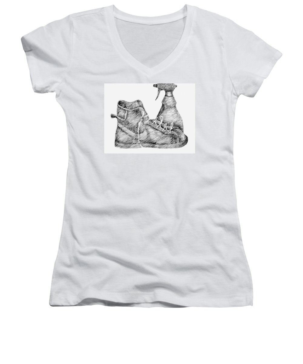 Pen Women's V-Neck T-Shirt featuring the drawing Still Life With Shoe And Spray Bottle by Michelle Calkins
